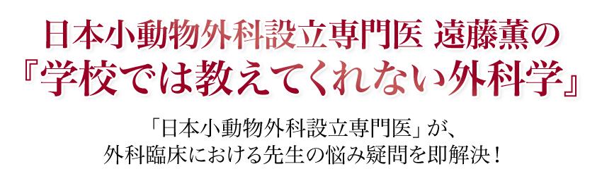 日本小動物外科設立専門医 遠藤薫の『学校では教えてくれない外科学』「日本小動物外科設立専門医」が、外科臨床における先生の悩み疑問を即解決!