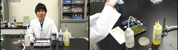 「検体のグラム染色」も、原田先生のデモンストレーションを見ながら学べます