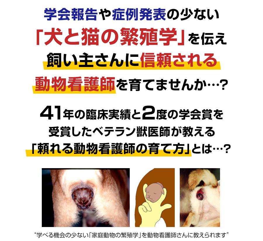 学会報告や症例発表の少ない「犬猫の繁殖学」を伝え飼い主さんに信頼される動物看護師を育てませんか…?41年の臨床実績と2度の学会賞を受賞したベテラン獣医師が教える「頼れる動物看護師の育て方」とは…?