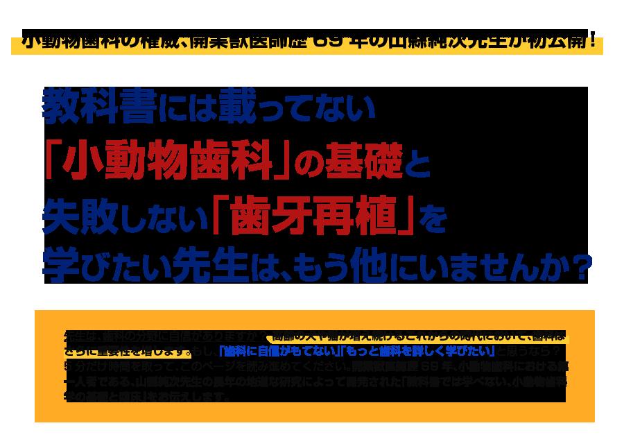 小動物歯科の権威、開業獣医師歴69年の山縣純次先生が初公開!教科書には載ってない「小動物歯科」の基礎と失敗しない「歯牙再植」を学びたい先生は、もう他にいませんか?